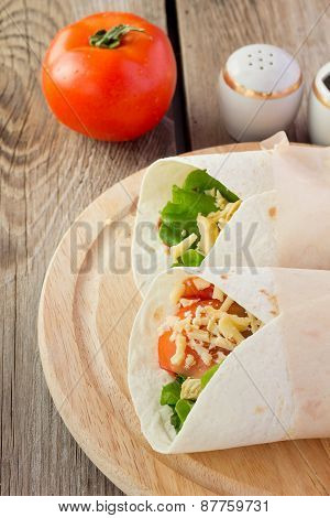 Chicken Fajitas On Wooden Plate