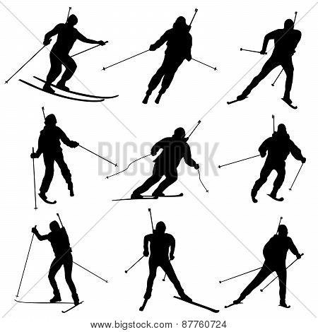 Set Of Vector Silhouettes Biathletes.