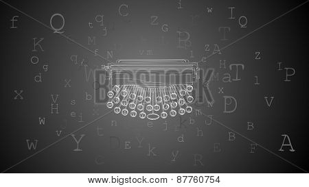 Horizontal Abstract Background With Typewriter And Letters Around.