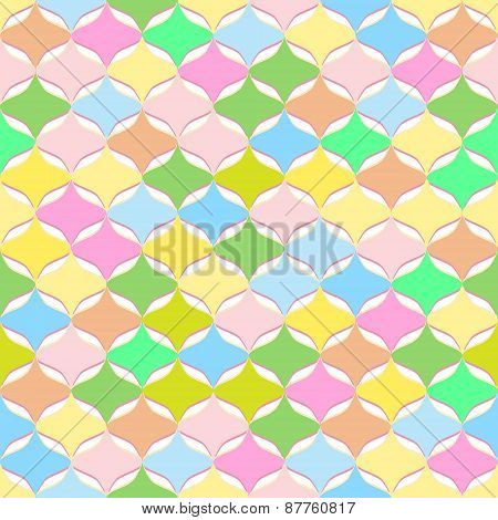 Vector Seamless Abstract Geometric Pattern With Chaotic Pastel Warm Colors