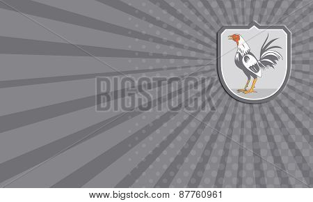 Business Card Cockerel Rooster Standing Shield Retro