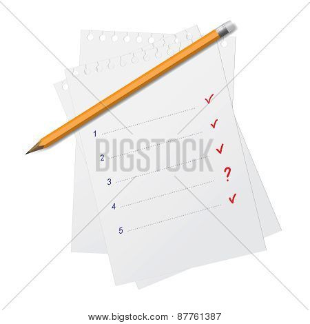 Slate Wooden Pencil On A Few Sheets Of Paper For Notes Isolated On White. Vector Eps10 Illustration.