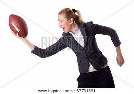 Preety office employee with rugby ball isolated on white