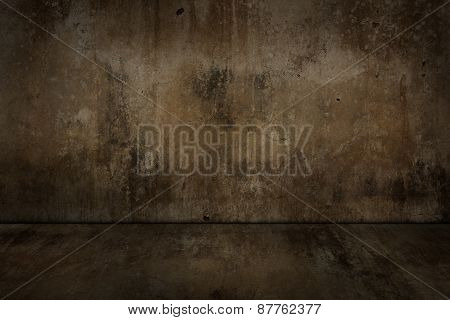 Old Concrete Wall And Floor Dirty.