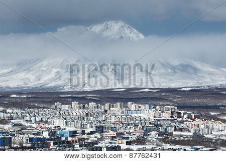 Petropavlovsk-kamchatsky City And Active Koryak Volcano. Russia, Kamchatka