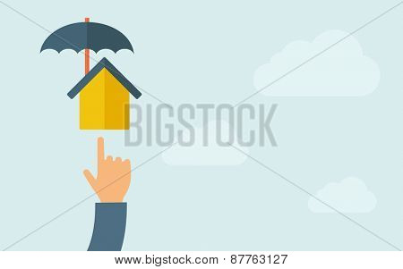 A hand pointing to house umbrella icon. A contemporary style with pastel palette, light blue cloudy sky background. Vector flat design illustration. Horizontal layout with text space on right part.