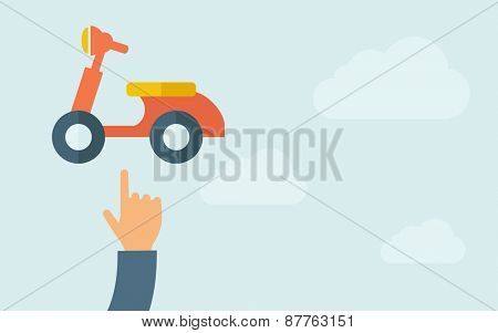 A hand pointing to motorbike icon. A contemporary style with pastel palette, light blue cloudy sky background. Vector flat design illustration. Horizontal layout with text space on right part.