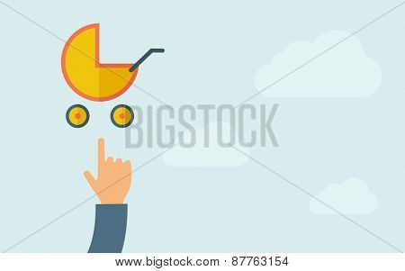A hand pointing to baby stroller icon. A contemporary style with pastel palette, light blue cloudy sky background. Vector flat design illustration. Horizontal layout with text space on right part.