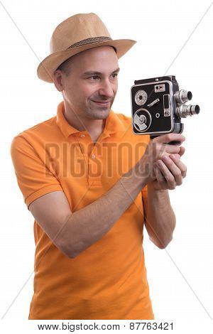 Tourist With Retro Camera