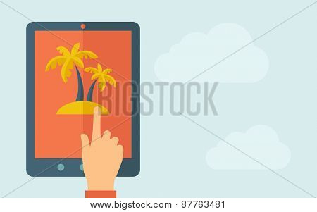 A hand is touching the screen of a tablet with palm tree icon. A contemporary style with pastel palette, light blue cloudy sky background. Vector flat design illustration. Horizontal layout with text
