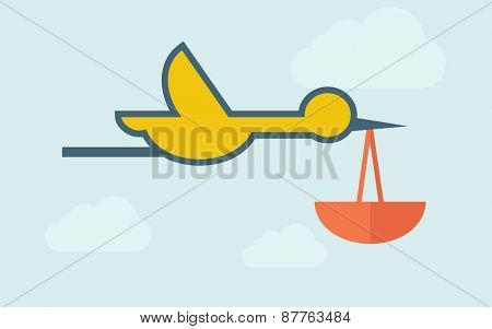 Bird carrying bag. A contemporary style with pastel palette, light blue cloudy sky background. Vector flat design illustration. Horizontal layout with text space on right part.