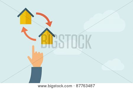 A hand pointing to little houses with arrow. A contemporary style with pastel palette, light blue cloudy sky background. Vector flat design illustration. Horizontal layout with text space on right