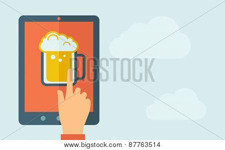 A hand is touching the screen of a tablet with beer mug icon. A contemporary style with pastel palette, light blue cloudy sky background. Vector flat design illustration. Horizontal layout with text