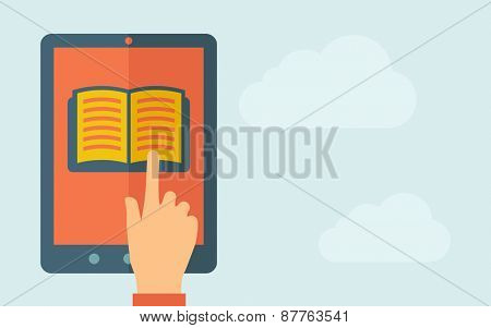 A hand is touching the screen of a tablet with book icon. A contemporary style with pastel palette, light blue cloudy sky background. Vector flat design illustration. Horizontal layout with text space