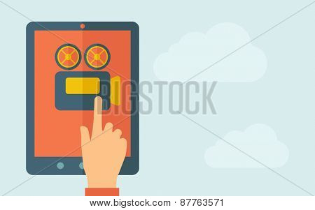 A hand is touching the screen of a tablet with video cam icon. A contemporary style with pastel palette, light blue cloudy sky background. Vector flat design illustration. Horizontal layout with text