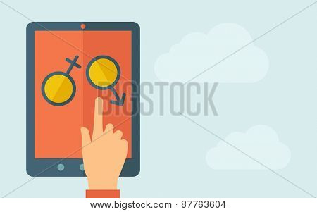 A hand is touching the screen of a tablet with female and male  icon. A contemporary style with pastel palette, light blue cloudy sky background. Vector flat design illustration. Horizontal layout