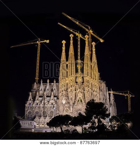 Sagrada Familia Cathedral At Night