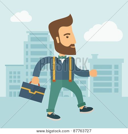 Handsome, young and good looking man positively walking through the city streets to attend a business meeting carrying a briefcase. Business concept. A contemporary style with pastel palette, soft