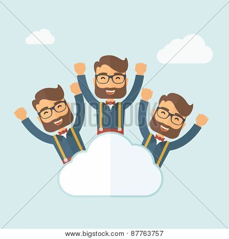 Three same face businessmen on top of cloud happy raising hands showing for their success in business career. Business growth. A contemporary style with pastel palette, soft blue tinted background