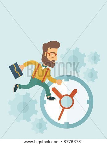 Career man with his bag chasing running clock pursuing a deadline of his report. Time management concept. A contemporary style with pastel palette, soft blue tinted background. Vector flat design
