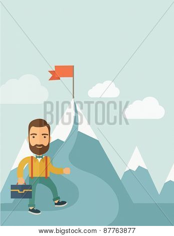 A Caucasian businessman holding his bag will climb up to top of the mountain to achieve success by holding the red flag. Willingness, leadership concept. A Contemporary style with pastel palette, soft