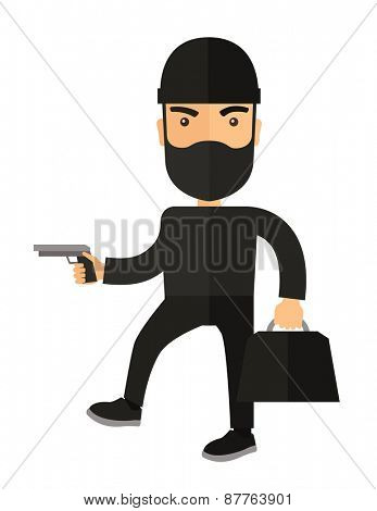 A man wearing black with mask to disguise. Criminal, illegal concept. A Contemporary style. Vector flat design illustration isolated white background. Vertical layout.