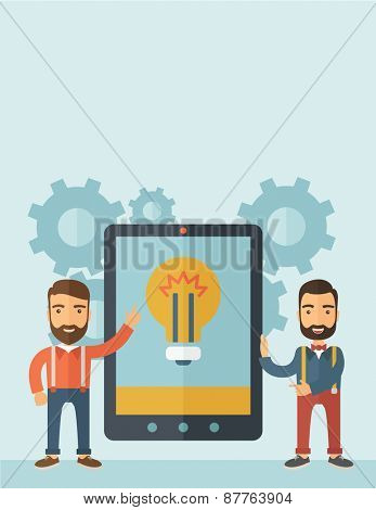 Two businessmen with beard standing while holding a big screen tablet with bulb icon a computer tablet perspective view strategy marketing. Business concept. A contemporary style with pastel palette