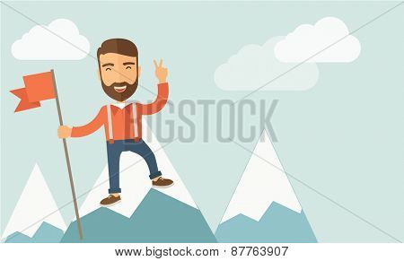 A happy Caucasian businessman standing on the top of a mountain with snow holding a red flag. Cheerful, winner and leader concept.  Contemporary style with pastel palette, soft blue tinted background