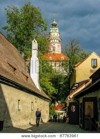 View On Castle And Red Roofs In Cesky Krumlov