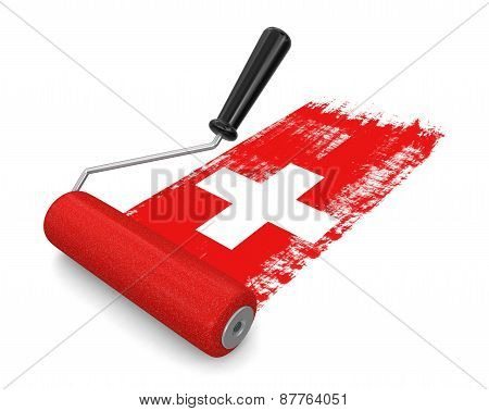 Paint roller with Swiss flag (clipping path included)