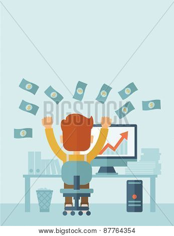 Successful young businessman happy falling the money while sitting infront of his computer with the graph showing the arrow going up increasing in sales. Business growth concept. A contemporary style