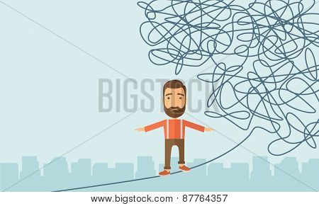 A Businessman walking on a long rope at risk but still very far to reach the goal. Determination concept. A Contemporary style with pastel palette, soft blue tinted background. Vector flat design