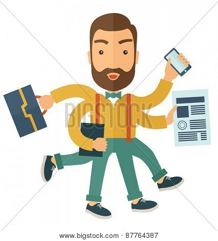 A multitasking job is a man with many hands with successful planning elements, can handle many paper works. Time management concept. A Contemporary style. Vector flat design illustration with isolated