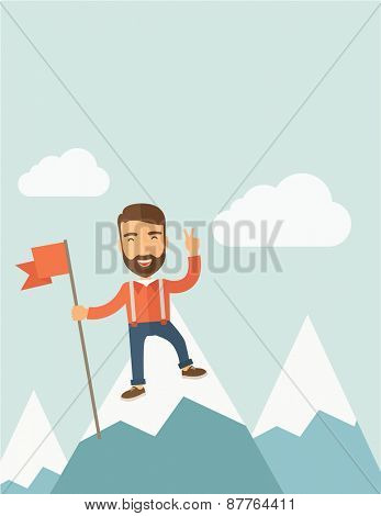 A happy Caucasian businessman standing on the top of a mountain with snow holding a red flag. Cheerful, winner and leader concept. A Contemporary style with pastel palette, soft blue tinted background