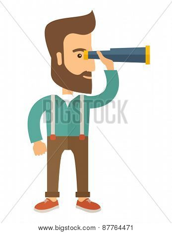 A Caucasian with beard with binocular looking for something. A Contemporary style. Vector flat design illustration with isolated white background. Vertical layout.