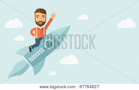 Happy businessman flying on a rocket with caption success and showing direction of movement suited for business start up concept design.A Contemporary style with pastel palette, soft blue tinted