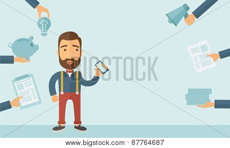 Man with smartphone in hand has a lot of of task and paperwork suitable for time management business concept. A contemporary style with pastel palette, soft blue tinted background. Vector flat design