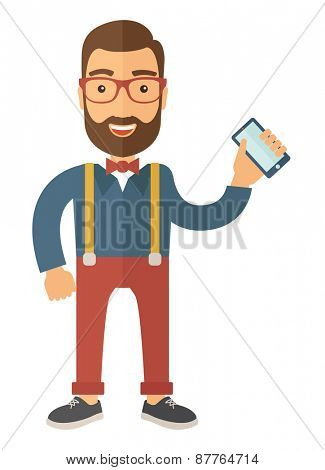 A hipster Caucasian happy standing holding his smartphone. Happy concept. A contemporary style. Vector flat design illustration with isolated white background. Vertical layout.