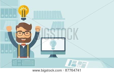 A Caucasian young man is happy raising his two hands getting an idea through computer internet inside his office. Successful concept.A contemporary style with pastel palette, soft blue tinted