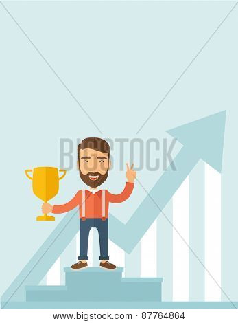 A Caucasian businessman proudly standing on the winning podium holding up winning trophy and showing an arrow pointing upward as his success. Winner concept. A contemporary style with pastel palette
