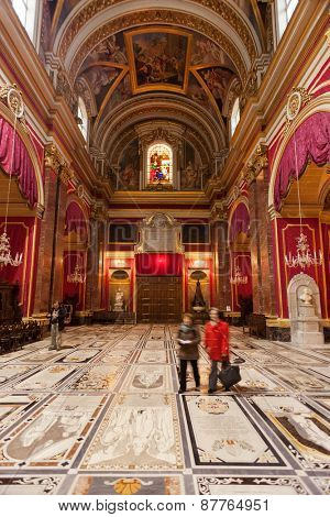 MDINA, MALTA - JANUARY 12, 2015: Interior of Saint Paul's Cathedral. According to tradition it was built on the area where St. Paul converted Publius, the Roman governor, to Christianity.