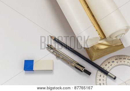 Ruler, Compasses, Eraser, Protractor, Pencil And Tracing Paper Roll
