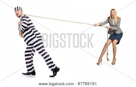 Convicted man and female employee isolated on white