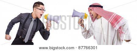 Arab man shouting through loudspeaker isolated on white