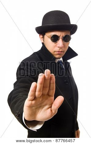 Man wearing black coat isolated on white