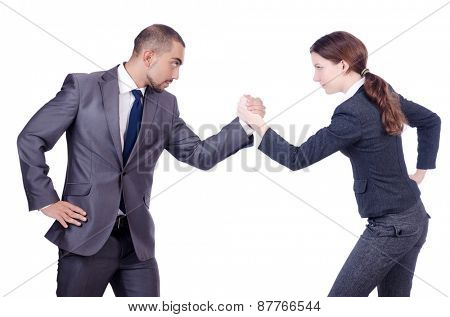 Man and woman in costumes isolated on white