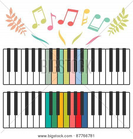 Colored piano keys and notes vector illustration
