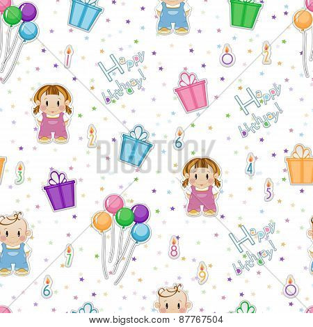 Seamless baby background. Children's background of candles, gift