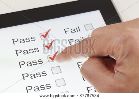 Completing the form on a digital tablet