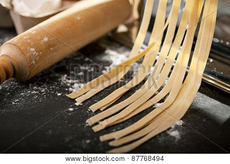 How To Cook Pasta. Traditional Italian Homemade Tagliatelle